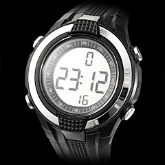 Men's Heart Rate Monitor Rubber Digital Automatic Wrist Watch with Chest Band (Black Band)