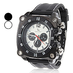 Men's Military Style Square Case Black Silicone Band Quartz Wrist Watch (Assorted Colors)