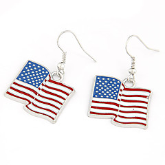 Silver Plated Alloy USA Flag Pattern Earrings