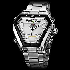 weide® heren horloge jurk horloge driehoek geleid multifunctionele dubbele tijdzones waterbestendig