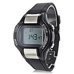 unisex contador de calorias preto elástico relógio digital de pulso com monitor de freqüência cardíaca