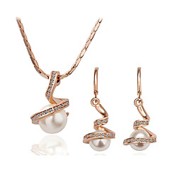 Lureme®Alloy Twisted Pearl Earrings And Necklace Jewelry Set