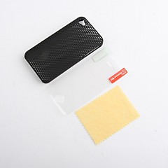 Ultra Thin Rubber Matte Mesh Hard Case Cover for iPhone 4 and 4S with Screen Guard (Black)