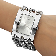 Menns Analog Quartz Hvit Face Silver Steel Band Bracelet Watch (Silver)