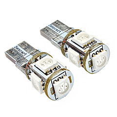 T10 1W 5x5050SMD 70LM Yellow Light LED Bulb for Car (DC 12V, 2-Pack)