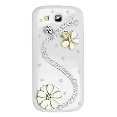 S Shape and Flower Pattern Hard Case with Rhinestone for Samsung Galaxy S3 I9300