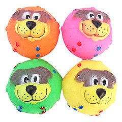 애완 동물 개를위한 카보 귀여운 개 얼굴 고무 삐걱 거리는 장난감 (분류 된 색깔)