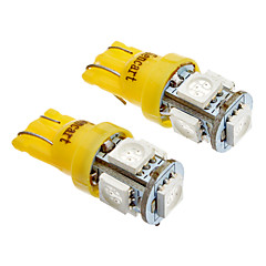 T10 5x5050SMD LED Light Side 194 168 W5W Amber / Amarillo Luz trasera Wedge (12V)