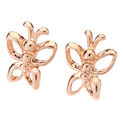 Rose Gold Hollow Butterfly Stud Earrings