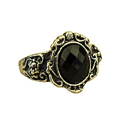 Korean Jewelry European And American Ultra- Retro Personality Carved Black Gem Ring Mirror