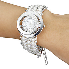 Women's Diamante Round Dial Pearl Band Quartz Analog Bracelet Watch (White)