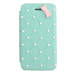 Elegant bowknot Pearl PU skinn Full Body sak for iPhone 4/4S (assortert farge)