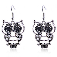 Earring Animal Shape / Owl Drop Earrings Jewelry Women Party / Daily / Casual Crystal / Silver Plated 2pcs