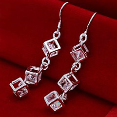 Hollow Square Cubic Drop Earrings