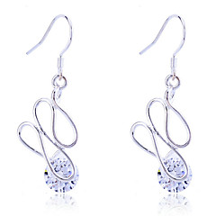 Fashion 925 Sterling Silver Plated Geometric Twisted  Zircon Earrings