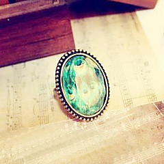 Cute Little Peacock Peacock Feathers Retro Oval Ring Acrylic Section