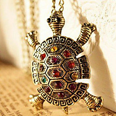 Women's vintage diamond inlaid cute little turtle sweater chain necklace N64