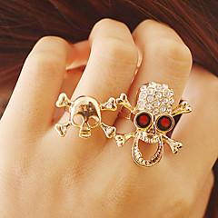 Vintage Punk Style Skull Double Ring (tilfældig farve)