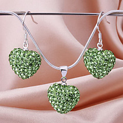 New Shamballa drop beads earring necklace pendant set Micro Pave CZ Disco Ball Bead