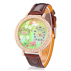 Women's 3D Butterfly Diamante Round Dial Pu Band Quartz Analog Wrist Watch Cool Watches Unique Watches