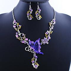 Verbazingwekkende Butterfly Alloy met acryl Ketting, oorbellen sieraden set (meer kleuren)