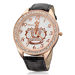 Unisex White Crown Dial PU Leather Band Quartz Analog Wrist Watch