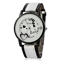 Matita modello quadrante bianco pu banda quarzo analogico orologio da polso da donna (colori assortiti)