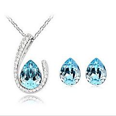 krystal vand dråbe øreringe & halskæde smykker sæt
