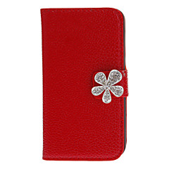 PU Full Body Case with Diamond Babysbreath Button and Card Slot for iPhone 4/4S (Assorted Colors)