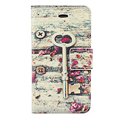 Vintage Key and Flower Pattern PU Full Body Case with Card Slot and Stand for iPhone 4/4S