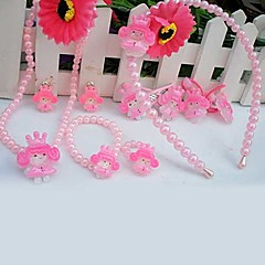 z&x® zoete roze imitatie parel (ketting&oorbellen&armband) sieraden set (wit, roze)