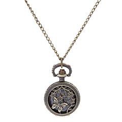 Women's Hollow Engraving Vintage Butterfly Round Dial Alloy Band Quartz Analog Necklace Watch