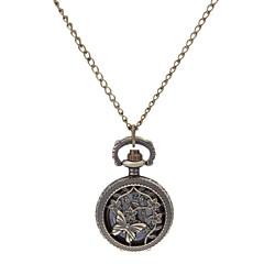 여자의 빈 조각 빈티지 나비 라운드 합금 밴드 석영 아날로그 목걸이 시계 다이얼