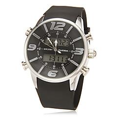 Herren-Multi-Funktions-Analog-Digital-Dial Rubber-Band-Quarz-LCD-Armbanduhr