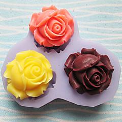 สามหลุมกุหลาบแม่พิมพ์ซิลิโคนดอกไม้ fondant แม่พิมพ์เครื่องมือฝีมือน้ำตาลเรซินดอกไม้แม่พิมพ์แม่พิมพ์สำหรับเค้ก