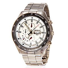 Calendario de los hombres del dial redondo de acero banda de cuarzo analógico reloj de pulsera