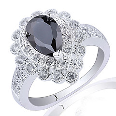 Shield Base Lady .925 Sterling Silver Ring With Pear Cut Zircon