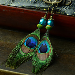 Ethnic (Peacock) Multicolor Feather Drop Earrings (1 Pair)