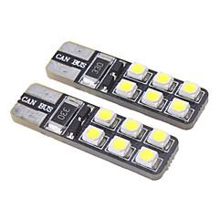 הנורה LED הלבן מגניב T10 1W 12x3528SMD 15LM 6000-6500K לרכב (12V)