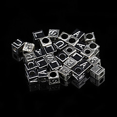 Classic Square Silver Alloy Charms 20 Pcs/Bag (Silver)