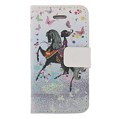 Beautiful Girl on the Horse Pattern PU Full Body Case with Stand for iPhone 4/4S