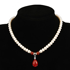 Fabulous White Pearl med Ruby Kvinnors Halsband