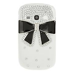 Black Bowknot Diamond Spot Drill Mönster Vit hårda tillbaka fallet täcker för Samsung Galaxy Fame S6810