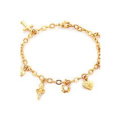 Dame Charm-armbånd Hjerte Indledende smykker Rhinsten Platin Belagt Guldbelagt 18K guld Hjerteformet Kærlighed Guld Hvid Smykker For