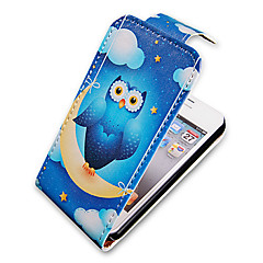 Night Owl Up-Down Turn Over PU Leather Full Bady Case for iPhone 4/4S