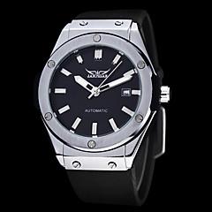 auto-mécanique cadran noir silicone montre bracelet pour hommes