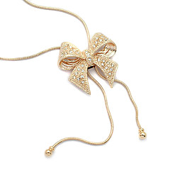Sweet (Bowknot Pendant) Gold Alloy Pendant Necklace(Gold) (1 Pc)