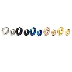 Fashion (Round Shape) Multicolor Titanium Steel Stud Earrings(Silver,Black,Blue,Gold,Rose) (1 Pc)