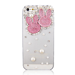 Double Lovely Rabbit Head Pattern and Pearl Cover Transparent Back Case for iPhone 5/5S