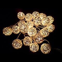elfenben hvid håndlavet rattan bolde string lys til fe fest& patio indretning part (20 stk)